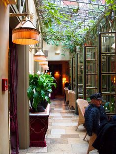 "Paris by Vicki Archer. Hotel Costes in the courtyard. One of my all time favorite ""hang outs."""
