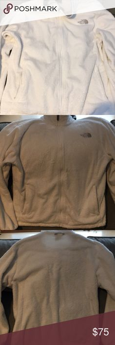 White North face fleece. White North Face fleece. Came as a liner to a NF coat but can also be used alone. Very comfortable and cozy. Size XL but tag was cut. North Face Jackets & Coats