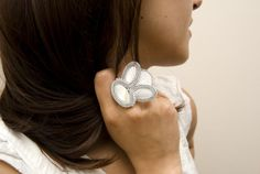 soutache ring / wedding jewelry / white silver and pearls