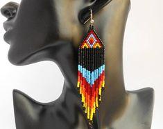 Nativo de pendientes nativa América joyería india nativo nativo beadwork pendientes nativos americanos joyería moldeada boho largo pendientes para las mujeres