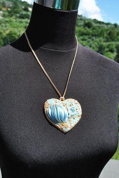 Кулон сердце с шелком шибри / Embroidery shibori ribbon silk pendant heart | biser.info - всё о бисере и бисерном творчестве