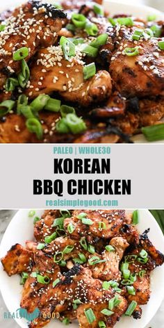An easy recipe with a flavorful marinade, this Paleo + Korean BBQ chicken is authentic and tasty! Marinated in a sweet, umami filled sticky sauce, it makes an easy and healthy weeknight meal for grilling. These chicken thighs can also be cooked i Paleo Whole 30, Whole 30 Recipes, Healthy Weeknight Meals, Healthy Recipes, Healthy Food, Paleo Food, Cooking Recipes, Easy Paleo Meals, Easy Korean Recipes