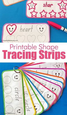Printable Shape Tracing Strips to help toddlers and preschoolers with shape words, prewriting, shape identification and formation. Preschool Speech Therapy, Preschool Writing, Preschool Learning Activities, Free Preschool, Preschool Printables, Preschool Lessons, Writing Activities, Preschool Shape Activities, Preschool Curriculum