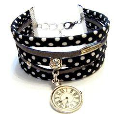 Bracelet manchette multirangs cordon tissu et suedine