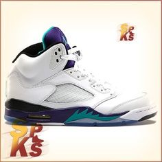 d3d63ffd08cccb Air Jordan 5 (V) Retro Grapes White   New Emerald-Grape Ice-Black 136027-108