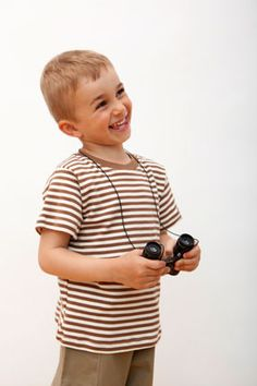 Organic cotton short sleeve Cocoa/Natural striped tee. Sizes 6 mos to youth 10.