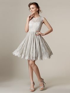 Knee-length+Lace+Bridesmaid+Dress+-+Silver+Plus+Sizes+/+Petite+A-line+/+Princess+Jewel+-+USD+$79.99/ bridesmaid