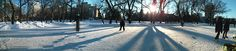 Victoria Park- Skating Rink.  Skaters are welcome to use the facility at all times during the day and evening. The warm-up facility will be maintained by Regina Downtown (BID). The warm-up facility will be open in January over the lunch and in the evening from 5 to 8 p.m. during the week and from 1 p.m. to 8 p.m. on the weekends. #yqr #regina www.reginadowntown.ca (Photo credit: Alex Marz @GeekLex)