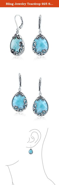 Bling Jewelry Teardrop 925 Silver Natural Larimar Leverback Earrings. These gorgeous sterling silver natural larimar earrings have glam silver vine detailing for a chic look in aqua teardrop earrings. These beautiful, rare natural larimar stones are reminiscent of the sea. Add these unique precious gems to your jewelry collection today. Natural stones may vary in color.