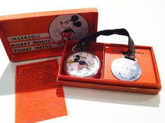 Disneyana Memorabilia! Antique Mickey Mouse Pocket Watch Ingersoll 1933 w/ by URUDecor, $1150.00 Decoration, Vintage Toys, Pocket Watch, Mickey Mouse, Lunch Box, Antiques, Unique Jewelry, Disney, Handmade Gifts