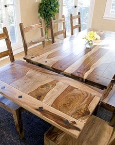 Rustic Sierra Solid Wood Dining Tables with Extensions