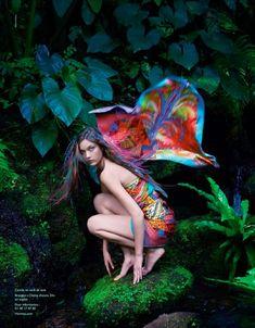 Model: Yumi Lambert (IMG) Ad Campaign: Hermès, Spring/Summer 2014 Photographer: Hans Silvester Stylist: Beat Bolliger Hair: Odile Gilbert Makeup: Karim Rahman