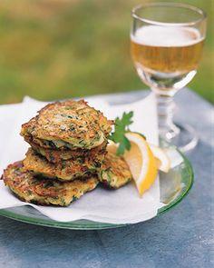 Serve these savory fritters with tzatziki, a garlicky yogurt sauce.