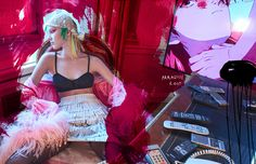 Sasha Luss by Hunter & Gatti for The Fashionable Lampoon #8 2017.  Fashion editor: Ron Hartleben  Hair stylist: Paco Garrigues  Makeup artist: Nina Park  Manicurist: Angely Duarte  Set designer: Stewart Gerard