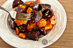 Roasted Sweet Potato and Beet Salad with a Lemon-Truffle Vinaigrette