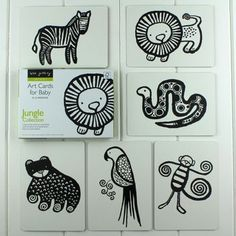 Black And White Baby Flash Cards Jungle Animals