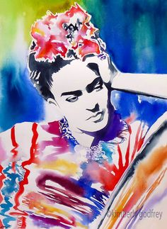 Frida Kahlo Original Watercolor Illustration Bright Colours Hot Pink Red Blue…