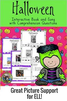 FREE for a limited time! Your students will love reading and singing the words in this fun #Halloween book. There is also a teacher's guide on how to use the book to teach phonics. The real pictures are great support for #English Language Learners