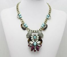 Turquoise and Tortoise Statement Necklace, J Crew Inspired Statement Necklace, Flower Necklace