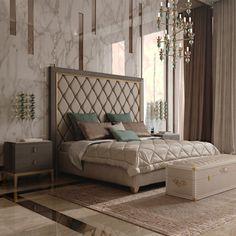 Italian Designer Art Deco Inspired Upholstered Bed with Tall Headboard - Juliettes Interiors Art Deco Bedroom, Bedroom Bed Design, Modern Bedroom, Bedroom Decor, Master Bedroom, Tall Headboard, Luxurious Bedrooms, Contemporary Interior, Bedroom Furniture