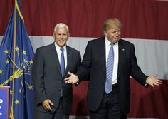 Presumptive US Republican presidential candidate Donald Trump (R) and Indiana Governor Mike Pence (L) take the stage during a campaign rally at Grant Park Event Center in Westfield, Indiana, on July 12, 2016.  / AFP / Tasos KATOPODIS        (Photo credit should read TASOS KATOPODIS/AFP/Getty Images)