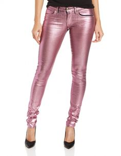 Women's #Fashion Clothing: Pants and #Jeans:  Juicy Couture Women's Foil Skinny Jean, #Pink Opal Sparkle: Clothes