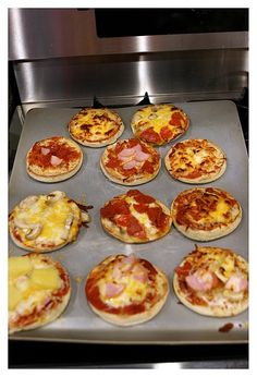 Individual english muffin pizzas. You could also use a biscuit cutter and cut out regular dough.  What a fun and perfect size for kids :)