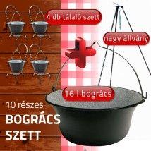 Bogrács szett 10 részes (nagy állvány +16 literes bogrács + 4 tálaló bogrács szett )