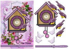 New Home Birdhouse Clock on Craftsuprint designed by Marijke Kok - New home card with a birdhouse and a clock,butterflies and other lovely detail. - Now available for download!