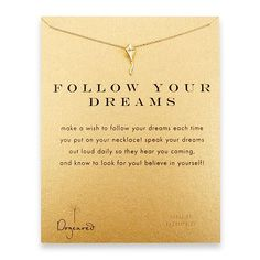 Follow Your Dreams Reminder Necklace with Gold Dipped Kite from Dogeared - $58.00 - LOVE!
