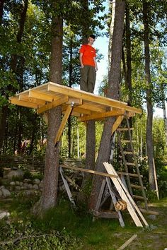 Make Amazing Projects With Step By Step Plans Cubby Houses, Play Houses, Tree Deck, Simple Tree House, Tree House Plans, Building A Treehouse, Cool Tree Houses, Tree House Designs, In The Tree