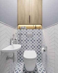 fish scale tiles, hexagon tiles and quatrefoil tiles the latest tiles 18 Small Toilet Room, Small Bathroom Decor, Small Bathroom Makeover, Bathroom Makeover, Bathroom Design Luxury, Bathroom Design Small, Wc Design, Bathroom Interior Design, Toilet Design