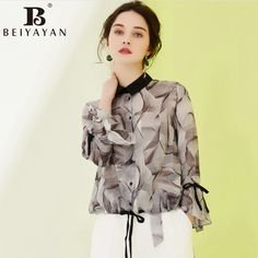 163185229aa Ladies Office Shirts Turn-down Collar Long Flare Sleeve Women Printed  Blouses The Office Shirts