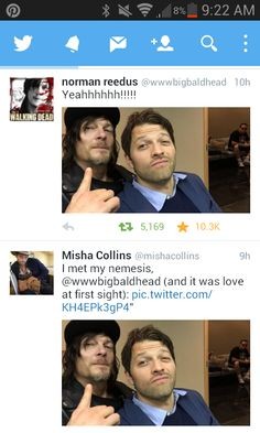 Norman Reedus and Misha Collins just met eachother, and took a selfie together, and then probably hugged because Norm's a hugger… OMG. The Supernatural and The Walking Dead fandoms have collided!