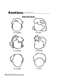 Teach feelings - Kindergarten Coloring Pages and Worksheets Counseling Activities, Therapy Activities, Preschool Activities, Feelings Preschool, Feelings Activities, Teaching Emotions, Play Therapy, Expressing Emotions Activities, English Activities For Kids