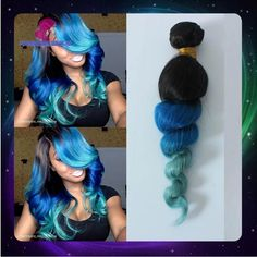 ombre hair extensions human hair green - Google Search