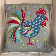 Cockerel Rooster handmade Applique Cushion by LucyLevenson on Etsy, £59.00