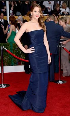 Jennifer Lawrence. glamorous even when sick with pneumonia. midnight blue is the color of the night!