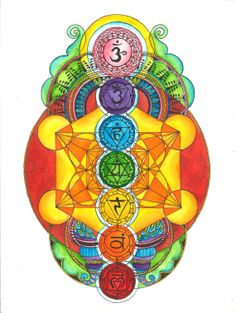 Chakras with Metatron's Cube. How's everybody doing with their meditations? There are a few pins to help us further clear and balance our chakras as well as some chakra meditation music ❤️❤️❤️ Art Chakra, Chakra Healing, Chakra Painting, Chakra Tattoo, Geometry Art, Sacred Geometry, Geometry Tattoo, Pattern Floral, Les Chakras