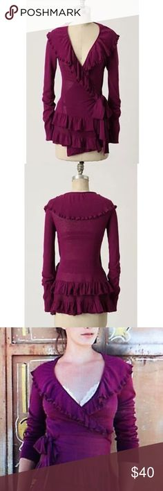 """EUC Guinevere Recital Purple Ruffled Wrap Cardigan In great pre-loved condition purple wrap Ruffle Cardigan from Anthropologie in size small. No major pilings or flaws. Measure about 24"""" length, 15"""" pit to pit, 25.5"""" sleeves. In a Purple color. ❌No trades or modeling. Open to reasonable offers. Bundle and save 15%. Thank you‼️ Anthropologie Sweaters Cardigans"""