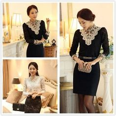 b57458e46f Women Elegant Lace Slim Shirt Wedding Evening Party Pullovers Knitted Tops  XP