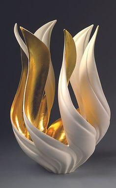 GlassArt.net | Jennifer McCurdy Pottery Art For Sale Vase Centerpieces, Vases Decor, Wall Vases, Porcelain Vase, Ceramic Vase, Porcelain Jewelry, Fine Porcelain, Interior Art Nouveau, Vase Design