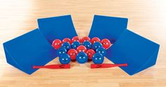 Roll ball up ramp, batter hits ball, team tries to catch their balls and knock away opponent's balls. Gopher Sports, Pe Ideas, One Team, Things To Come, Activities, Games, Gaming, Plays, Game