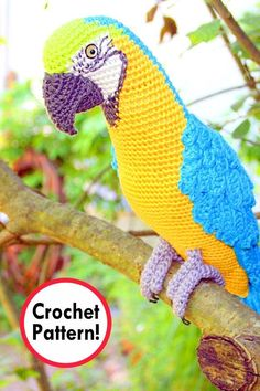 I came across some parrot crochet patterns and they turned out to be just the… Crochet Bird Patterns, Crochet Birds, Crochet Patterns Amigurumi, Crochet Animals, Diy Crochet, Crochet Crafts, Crochet Toys, Knitting Patterns, Crochet Parrot