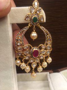 Uncut Diamonds and Diamonds Chandbalis - Jewellery Designs Gold Earrings Designs, Gold Diamond Earrings, Gold Jewellery Design, Necklace Designs, Diamond Jewelry, Gold Jewelry, Sterling Jewelry, Ear Jewelry, Bridal Jewelry