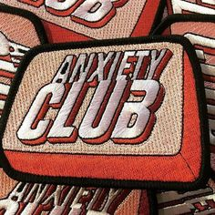 First rule of Anxiety Club is to talk about anxiety club . Coping strategies work when you put them to work. Cool Patches, Pin And Patches, Iron On Patches, Jacket Patches, Sew On Patches, Merit Badge, Cool Pins, Embroidery Patches, Textiles