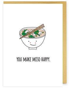 Miso Happy Asian Food Pun Greeting Card