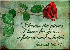 Jeremiah 29:11. Just one of my favorite scriptures of Gods promises.