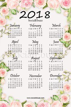2018 Calendar USA Printable Template  http://socialebuzz.com/2018-calendar-usa/