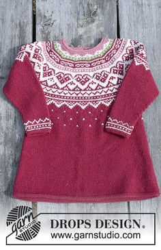 Visby Tunic / DROPS Children - Set consists of: Tunic for kids with round yoke, multi-coloured Norwegian pattern and A-shape, knitted top down. Head band with multi-coloured Norwegian pattern. Size 2 - 12 years Set is knitted in DROPS Merino Extra Fine. Baby Knitting Patterns, Knitting For Kids, Knitting Designs, Baby Patterns, Free Knitting, Dress Patterns, Tunic Pattern, Drops Design, Fair Isle Knitting